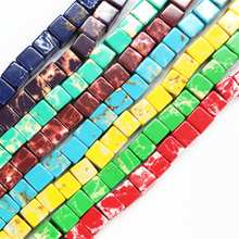 HUANHUAN Jewelry Natural Stone Cube Bead 8mm Multicolor Imperial Emperor Charms Loose Beads For Jewellery Making 15inch B3258(China)