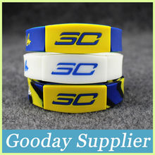 2016New arrival Stephen Curry personalized silicone bracelets Glow in the dark silicone band Soft round shape rubber bangle(China)