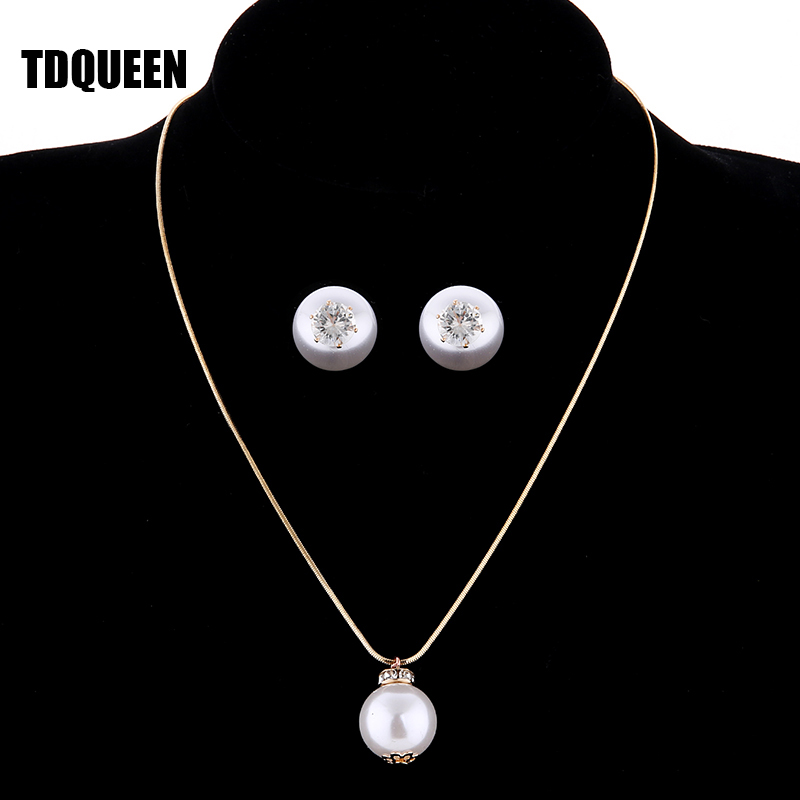 TDQUEEN Simulated Pearl Jewelry Sets Gold Color Big Round Pearl Wedding Necklace and Earrings Sets Party Accessories for Women (3)