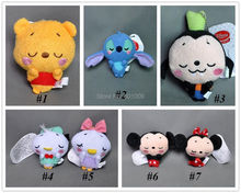 "Free Shipping EMS 100/Lot Cute Mickey Minnie Mouse Stitch Donald Duck Daisy Plush Keychain Doll Toy 4""(China)"