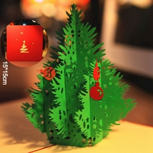 Red 3D Merry Christmas Tree 3D laser cut pop up paper bulk handmade postcards custom Xmas greeting cards Gifts display 9014