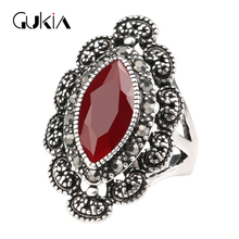 Gukin 2017 New Men Ring simple Hollow Lace Design Retro Rings For Women Aneis Plating silver Red Resin finger Ring Anel