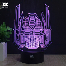 Transformers 3D Lamp Optimus Prime Avatar Night Light Novelty Table Lamp LED 7 Color Lighting Decoration USB Creative Gifts