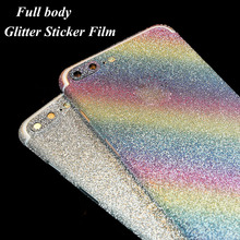 Bling Glitter Phone Sticker Film For iPhone 7 6 6s Plus 4.7 5.5 inch Back Front Decal Skin Glitter Phone Sticker Wrap Phone Case