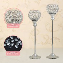 Christmas Decoration Crystal Candle Holders Metal Silver Wedding Candlestick Candelabra Moroccan Candle Lantern 40&45cm(China)