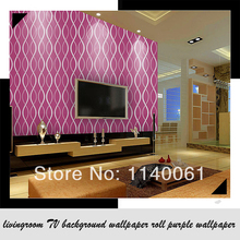 fashion simple lines The bedroom full shop flocking wallpaper livingroom TV background wallpaper roll purple wallpaper