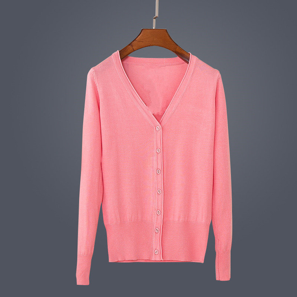 17 New Top Selling Spring Woman Sweater Tops Fashion Knitted Long Sleeve V-Neck Solid Loose Size Casual Woman Cardigan Sweater 22