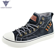 Plus Size 39-44 New 2016 Men Shoes Casual High Top Canvas Shoes Men Flats Brand Shoes Men Zapatillas Deportivas Sapato Masculino(China)