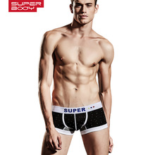 SUPERBODY brand fashion Gay underwear calzoncillos men boxer short trunk sexy low waist cueca boxer panties underpants 170135