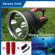 Super Bright 4* CREE XML L2 LED Diving Flashlight Torch Waterproof Portable Searching Diving Lamp + 26650 Battery+AC Charger
