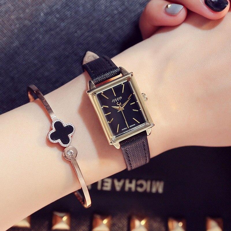 JULIUS Women Watch Top Fashion Brand Female Clock Gold Case Calendar Display Real Leather Strap Waterproof Wristwatches Hot Sale<br>