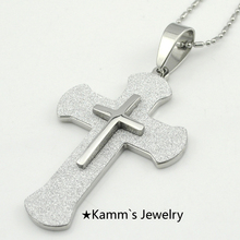 Punk Hip Hop Cross jesus piece Pendant Necklace Mens Stainless Steel Jewelry Christmas gift party Free Shipping Wholesale KP1225(China)
