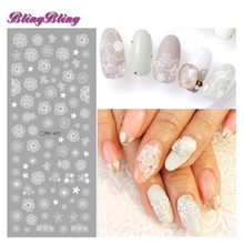 2 sheets Wedding Nail Sticker White Flower Nail Water Decals New Nail Art Sticker Chaste Nail Decorations(China)