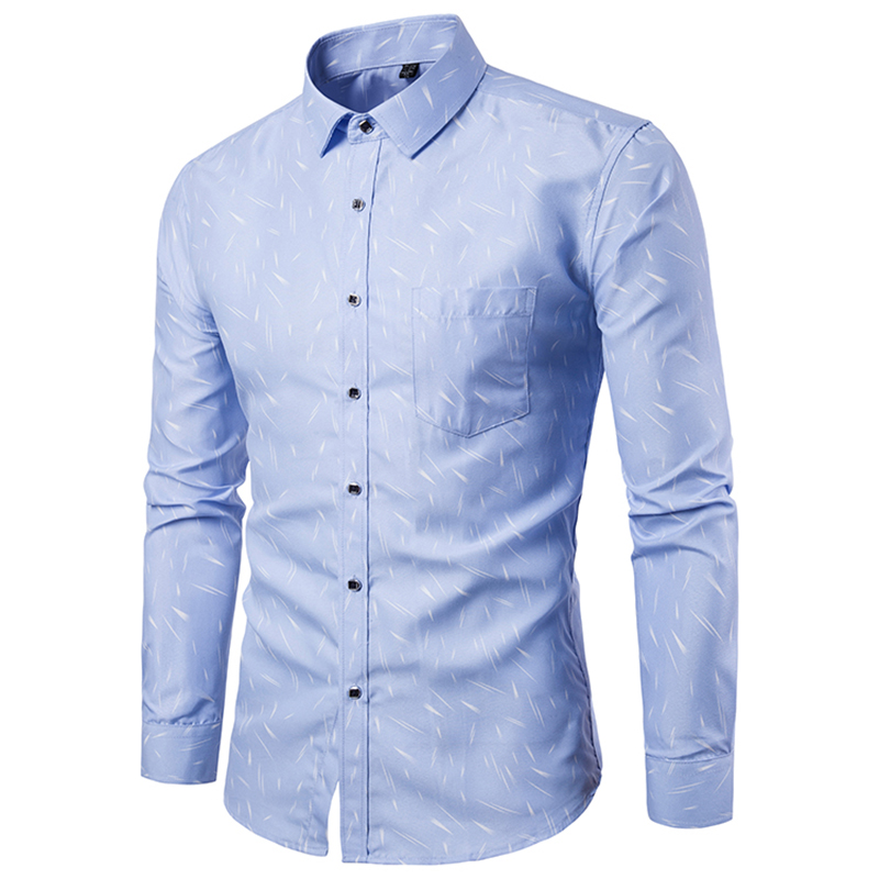 18 Shirt Men Printing Long Sleeves Shirt Camisa Masculina Men Slim Fit Casual Dress Shirt Brand Cotton Male Shirt 5XL 10
