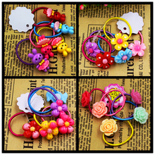 5pcs/lot Child Baby Girls' Hair Holders Rubber Bands Elastics Rabbit Candy Rose Flowers Super Cute 2015 New Fashion Tie Gum