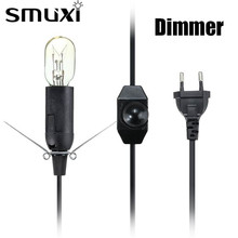 Smuxi Dimmer Switch US/EU/UK/AU Plug 1/1.2/1.8/2M E14 Lamp Base Electric Power Cord For Himalayan Salt Lamp White/Black