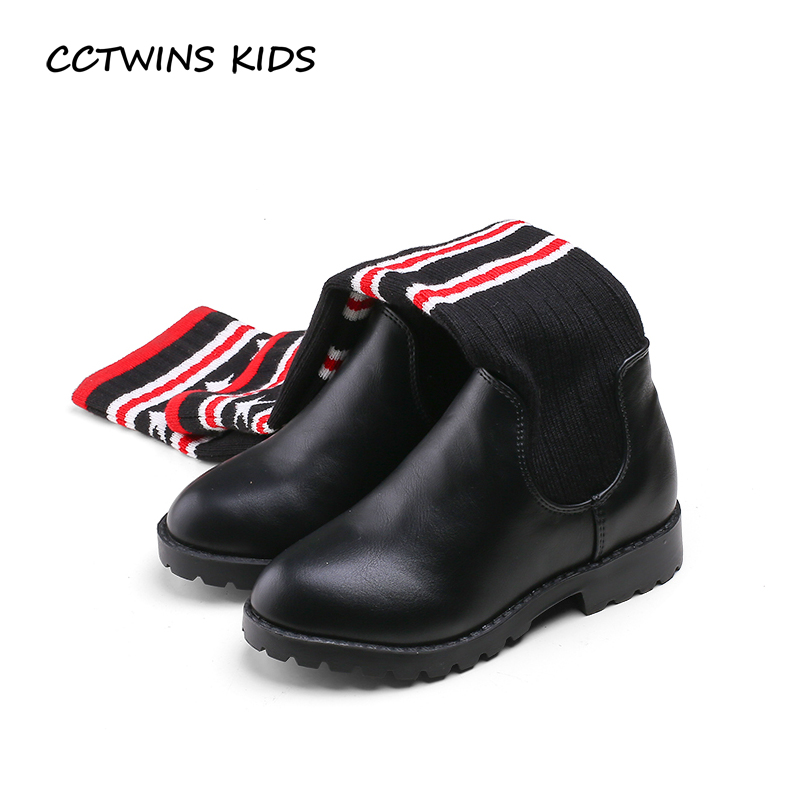 CCTWINS KIDS 2017 Children Kid Fashion Genuine Leather Black Flat Baby Girl Knitting Knee High Toddler Slip On Warm Boot C1154<br>