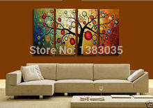 Handmade Painting Tree Of Life 4 Pieces Modern Abstract Oil Canvas Art Wall Pictures Set Living Room Decoration