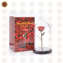 Wr Home Office Ornament Creative 24k Gold Foil Rose Flower /w Glass Cover Beautiful Holiday Gift Wedding Decor with Box 16.5cm