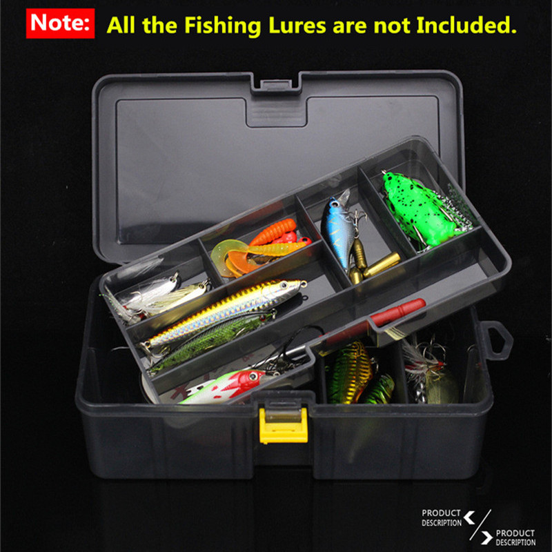 Double Layers Thickened Size Plastic Lure Fishing Box for Fishing Bait Tools Accessories Fishing Tackle Storage Box 21x12x6.5cm (11)