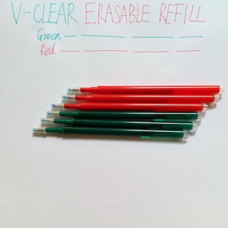 Office School Stationery Erasable Pen Refill 0.7mm RedGreen Ink 6PCS Gel Refill Pen for Kid Children Student Writing Pen Refill 3