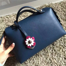 2016 womem bags top quality boston flowers genuine leather 28cm free shipping REN ZHUO