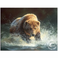 Full Magic Round Diamond Painting 5D DIY Diamond Embroidery Beads Grizzly Bear Picture of Crystals Mosaic Patchwork Crafts Hobby