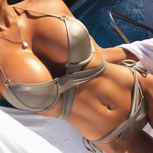 Buy Criss Cross Bandage Bikini 2018 Bather Female Sexy Two Piece Swimsuit Bikini Tanga Brazilian Swimwear Women Push Swim Suits