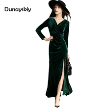 Buy Autumn Long Sleeve V Neck Sexy Slim Dress Womens Sexy Dresses Party Night Club Dress Slit Front Velvet Wrap Dress Dunayskiy for $27.89 in AliExpress store