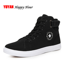 High Quality Men Canvas Shoes 2018 Fashion High top Men's Casual Shoes Breathable Canvas Man Lace up Brand Sneakers Black ZH307(China)