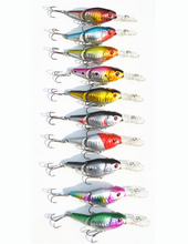 10Pcs/Lot Metal Jointed Reflective Crankbait Fishing Lure Long Tongue Crank Bait Swimbait Bass Trout Fish Lure(China)
