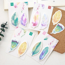 New Cute Kawaii Feather Sticky Notes Memo Pad Post It Note For Kids Stationery Gift Korean Stationery Free Shipping 396