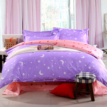 Hot! Cartoon kid adult Polyester Purple and pink bedding sets,Duvet cover Bed sheet Pillowcase twin full queen size Home textile(China)