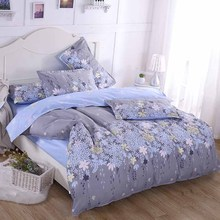New Classical Grey Flower Cotton Bedding Set Twin/Full/Queen/King Size Home Textile Fashion Bed Linen Duvet Cover Bedclothes
