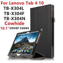 "Case Cowhide For Lenovo Tab4 TAB 4 10 Smart Protective cover Genuine Leather tab4TB-X304L TB-X304N F 10.1"" Tablet PC Cover cases(China)"