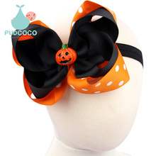 TWDVS New Halloween Baby Large Hair Bow Headband Pumpkin Ribbon Hair Accessories For Girl Children Kids Elastic Headwear H145(China)