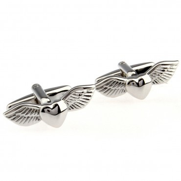 Flying Heart Cufflink Cuff Link 15 Pairs Wholesale Free Shipping
