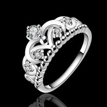 2016 Beautifully queen Crown Crystal silver plated rings listing of 925-sterling-silver jewelry Women wedding rings best gifts