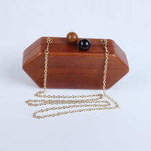 Retro ladies temperament pure handmade wooden diamond Shuangzhu hand bag bag manufacturers on behalf of a classic