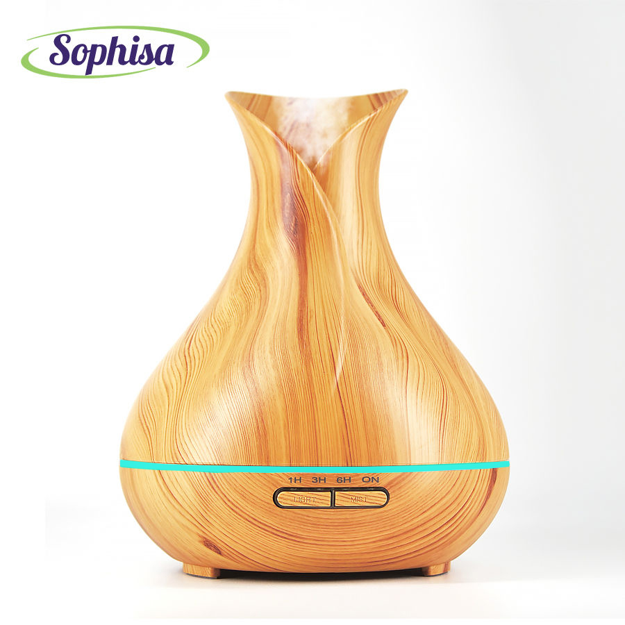 Sophisa 400ml Aroma Essential Oil Diffuser Ultrasonic Air Humidifier 7 Color Changing LED Lights mist aromatherapy maker SP1522Y<br>