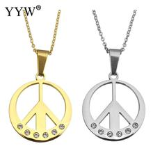 Stainless Steel Pendent Necklace Stainless Steel jewelry Necklace hot sale with 2lnch extender chain Peace Logo plated plating