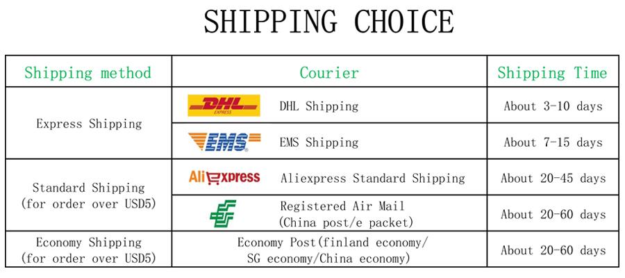 8 Shipping choice(ps)