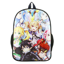 Anime Sword Art Online PU & Canvas Colorful Laptop Backpack Travel Double-Shoulder Bag School Bag(China)