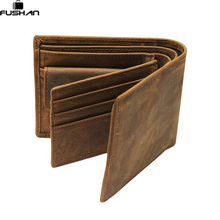 FUSHAN 100% top quality cow genuine leather men wallets fashion splice purse dollar price carteira masculina original brand(China)