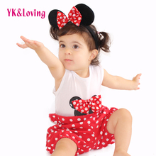 Baby Brand Clothing Sets 2017 Summer Style Cotton Cartoon Sleeveless Jumpsuit Kids Suits 0-2Years Rompers Bloomers Outfits New