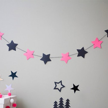 1Set Paper Pink Star Garland Birthday Party Supplies Christmas Tree Window Decoration Wedding Store Baby Shower Christmas Decor(China)