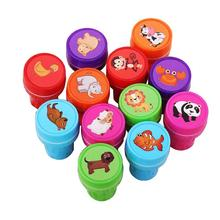 12Pcs Cartoon Seal Stamper Children Emoji Fruit Toy Stamper DIY Diary Decorative Painting Scrapbooking Decoration Party Supplies