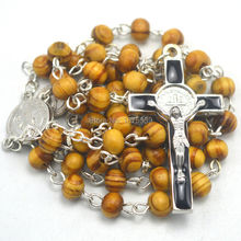 Cheap 6mm round wood rosary St benedict alloy crucifix catholic rosary(China)