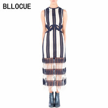 Buy BLLOCUE High-end Custom Self Portrait Dress Summer 2018 Runway Women Sexy White Blue Striped Patchwork Tassel Mid-Calf Dress for $33.59 in AliExpress store
