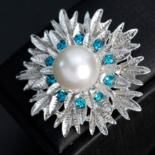 Free shipping silver plated inlay light blue zirconia jewelry flower dress hat brooches pins for women gifts accessory MST006(China)